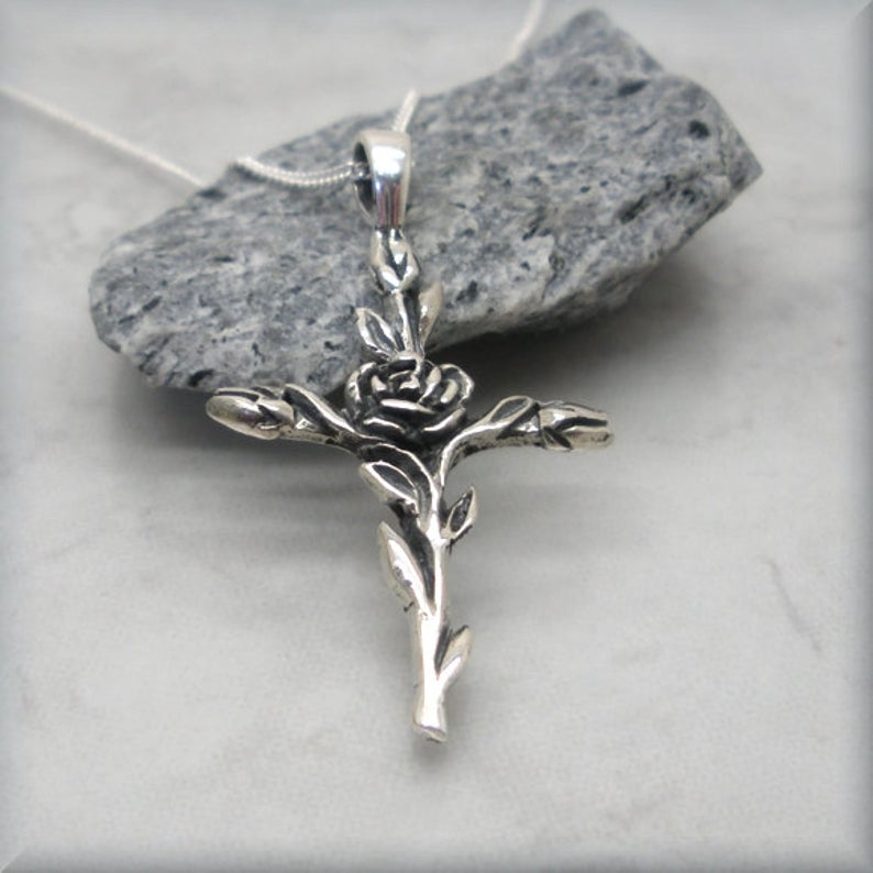 christian cross with rose entwined sterling silver