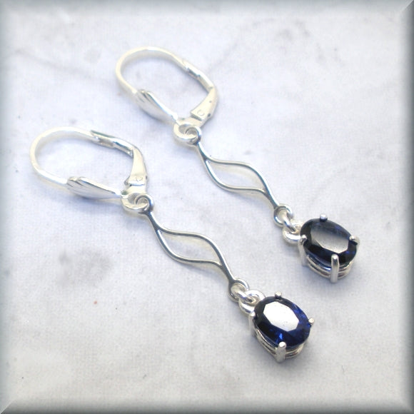 Oval blue sapphire leverback earrings