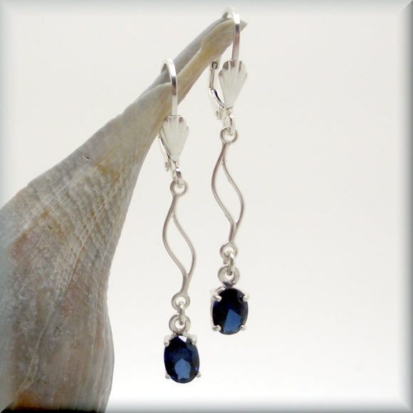 Blue sapphire gemstone earrings in sterling silver