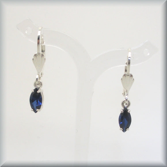 shell leverback earrings with faceted sapphires