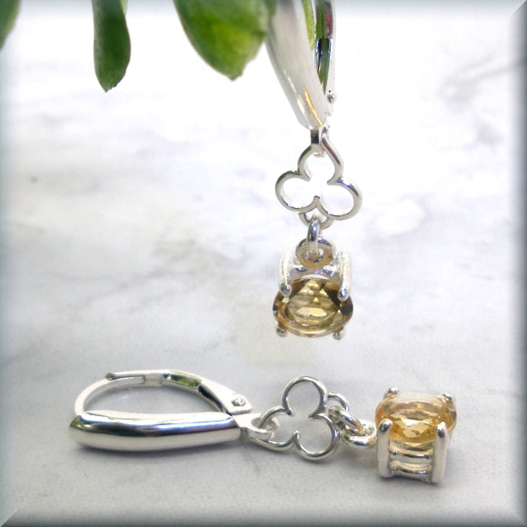 Sterling Silver Yellow Citrine Earrings