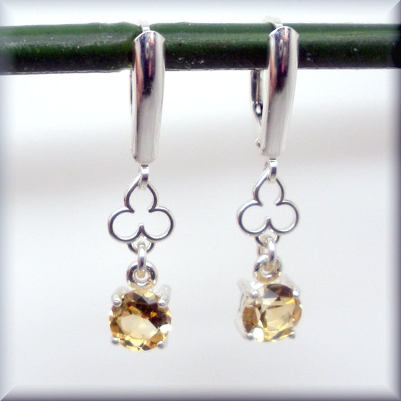 Golden Citrine Earrings with Shield Leverbacks