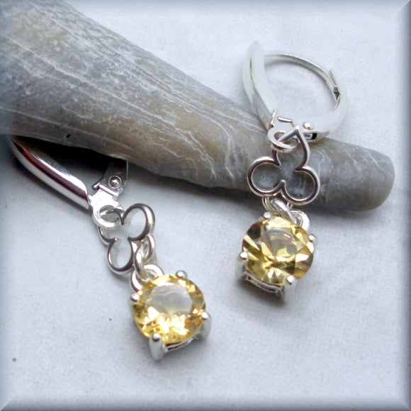 Golden Citrine Earrings in Round Cut - Gemstone Earrings