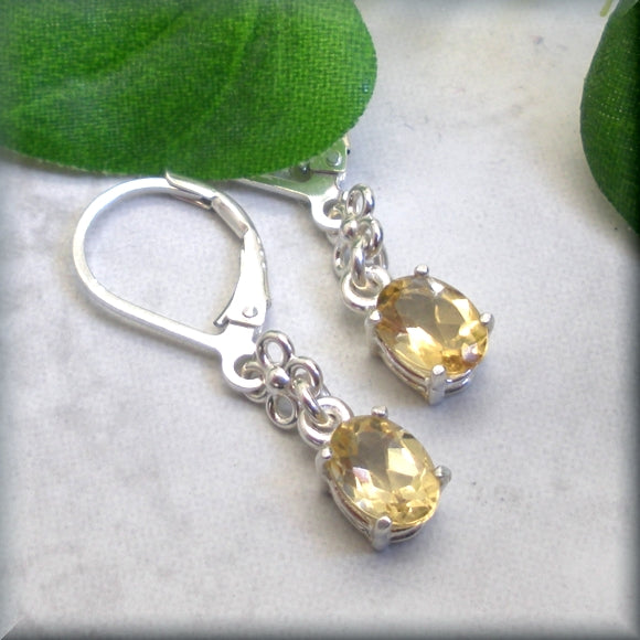 Oval Golden Citrine Earrings - November Birthstone