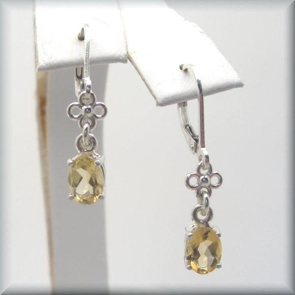 golden citrine leverback earrings