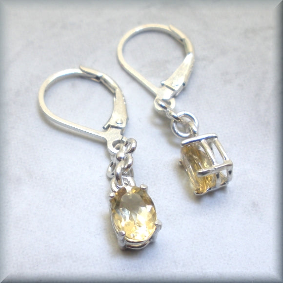golden citrine dangle earrings in sterling silver
