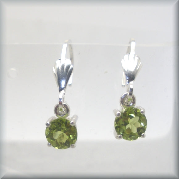 Round Peridot Leverback Earrings - August Birthstone