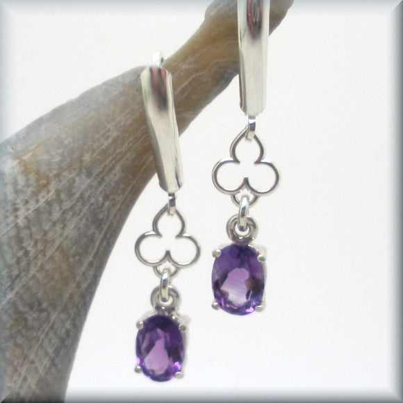 oval amethyst leverback earrings
