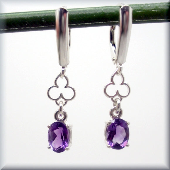 oval amethyst earrings with mehndi accent in sterling silver