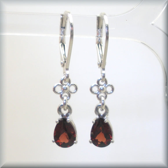 teardrop shaped garnet gemstone earrings