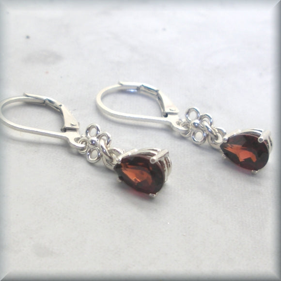 genuine garnet drop earrings with sterling silver accent