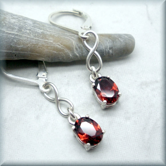 Garnet Earrings in Oval Cut - Gemstone Earrings - January Birthstone