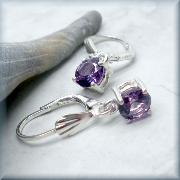 round alexandrite dangle earrings in sterling silver