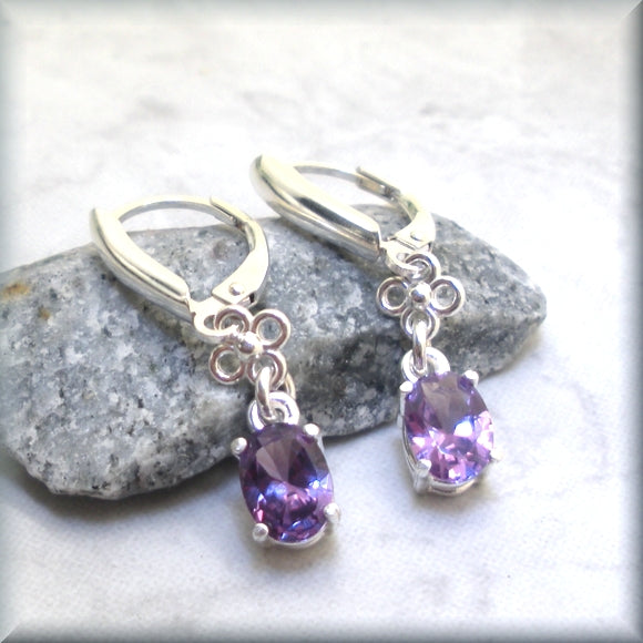 Oval Alexandrite Earrings - Gemstone Earrings on Sterling Silver Leverbacks