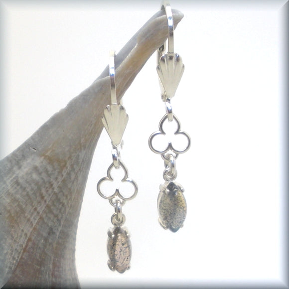 Marquise labradorite gemstone earrings with mehndi accent