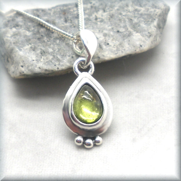 Peridot Necklace with Pear Shaped Cabochon Center - Sterling Silver Gemstone Necklace
