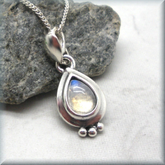 Rainbow Moonstone Necklace - Pear Shaped Cabochon Gemstone