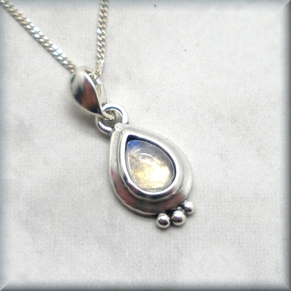 Pear shape rainbow moonstone necklace