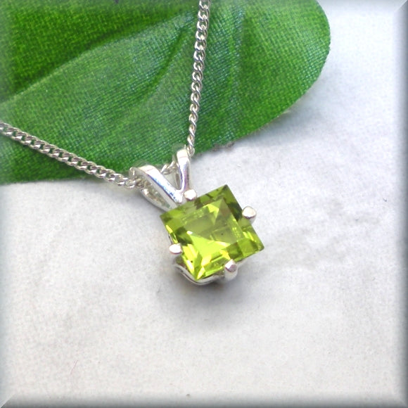 Princess cut peridot necklace