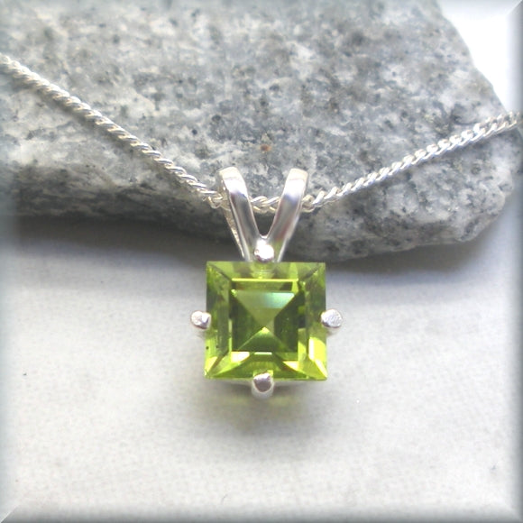 Natural peridot necklace in a square cut
