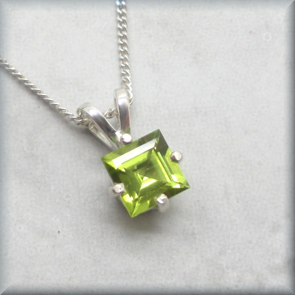 August birthstone necklace in a princess cut