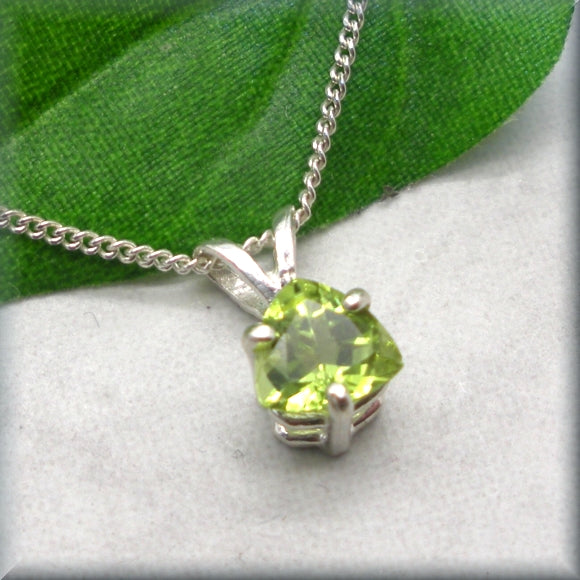 Triangle cut peridot necklace set in sterling silver