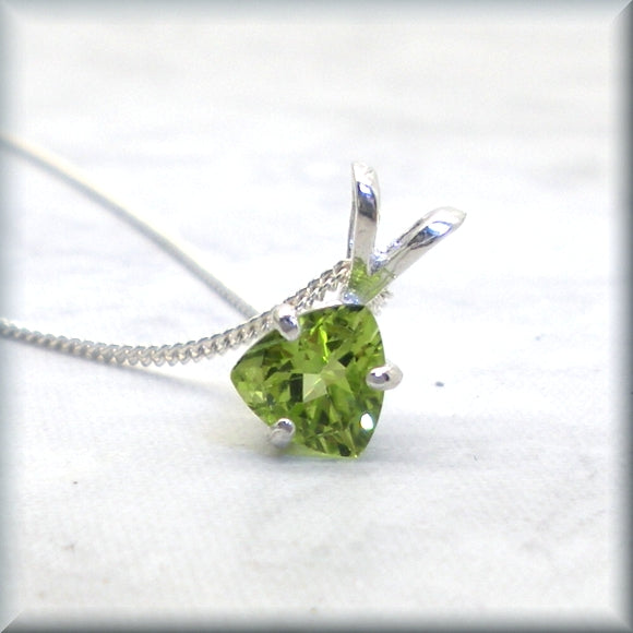 Trillion cut peridot necklace