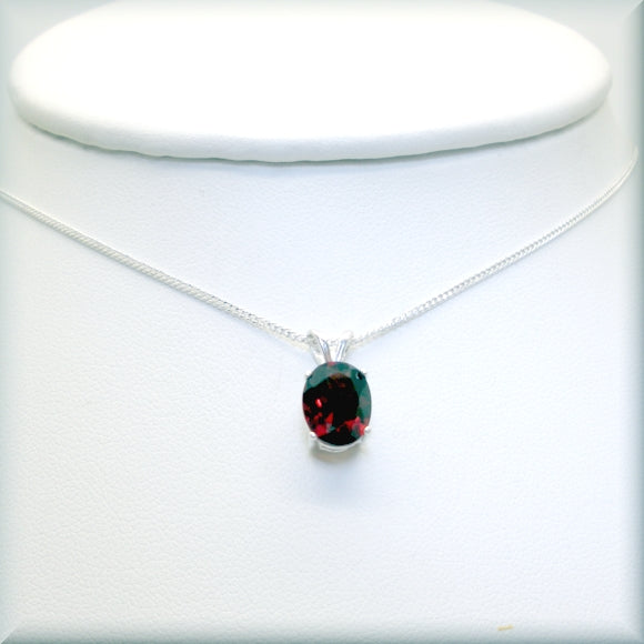 Garnet gemstone necklace in oval cut