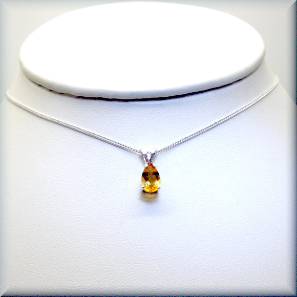 teardrop shaped yellow citrine necklace
