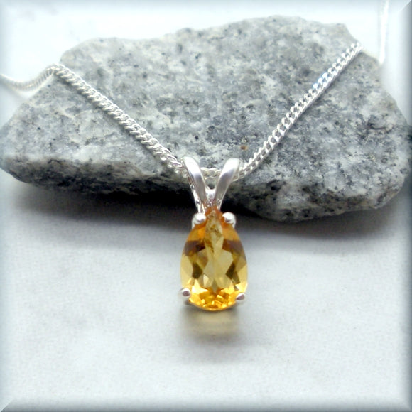 Yellow Citrine Necklace - Faceted Pear Gemstone