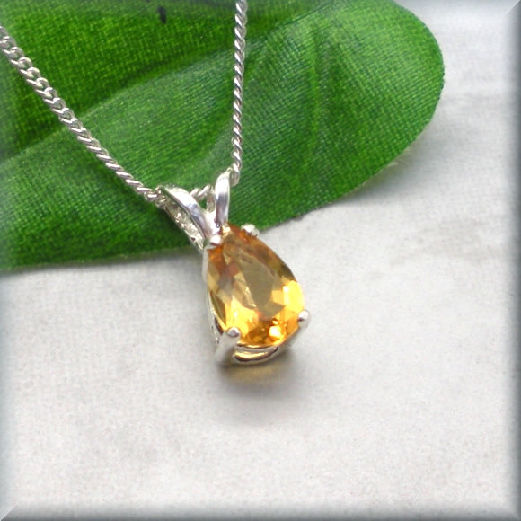 sterling silver yellow citrine necklace
