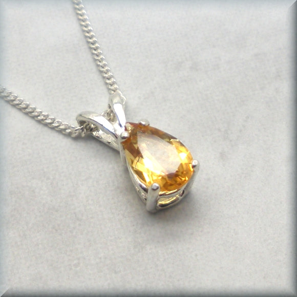 sterling silver faceted yellow citrine necklace