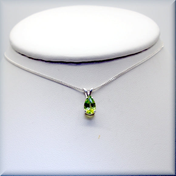Pear cut peridot necklace