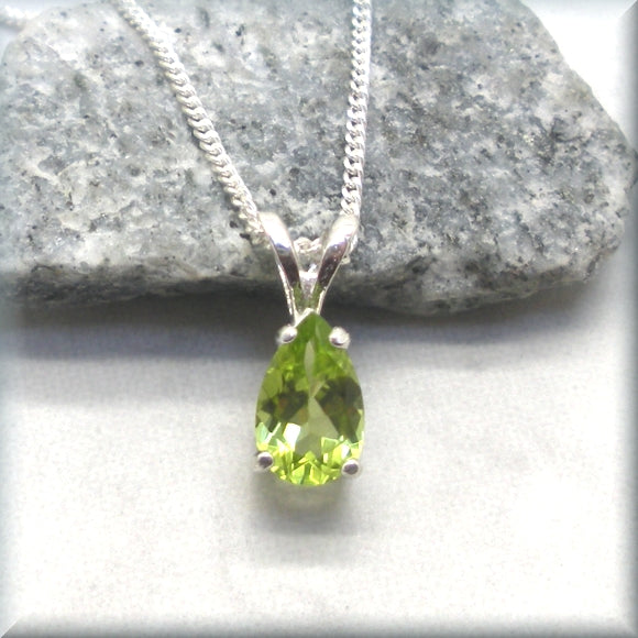Peridot pendant on sterling silver chain