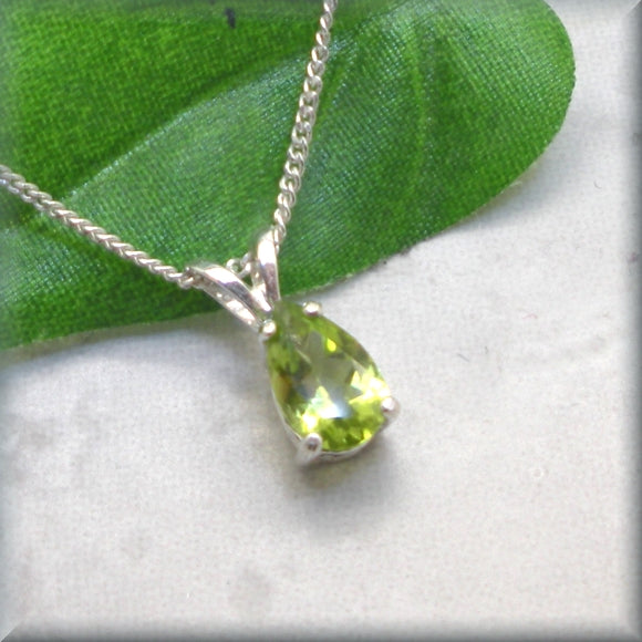 Pear Cut Peridot Necklace - Sterling Silver Gemstone Necklace
