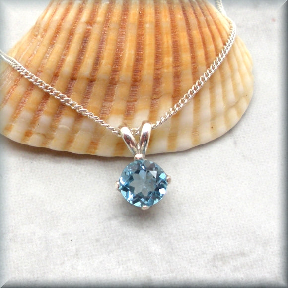 Round Swiss Blue Topaz Necklace - Sterling Silver