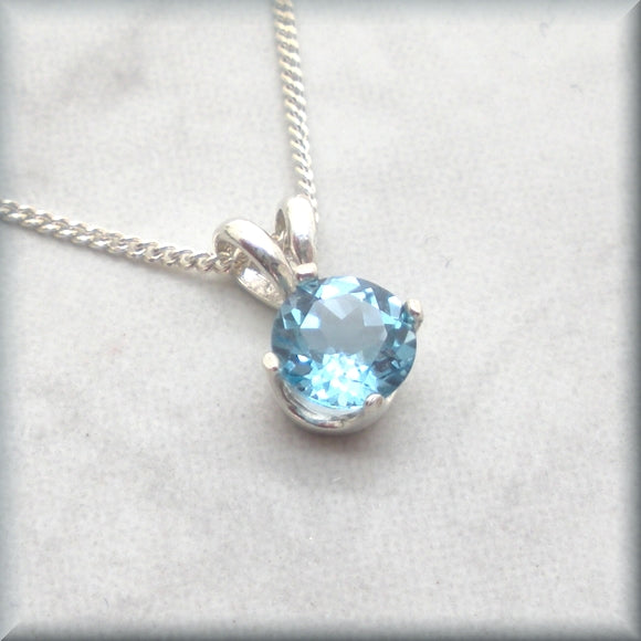 swiss blue topaz solitaire pendant by Bonny Jewelry