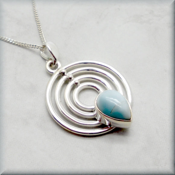 larimar pendant with sterling silver circles