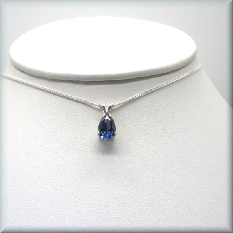 Tanzanite CZ Necklace - Pear Cut - December Birthstone
