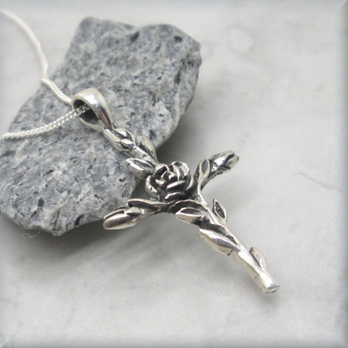 Roses on cross pendant sterling silver
