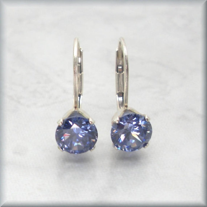 Tanzanite CZ Earrings - December Birthstone