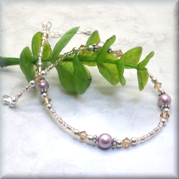 Rose Pearl and Topaz Crystal Anklet - Adjustable - Fits 9.5