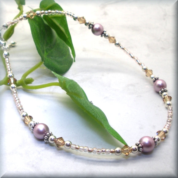 Swarovski pearl and light topaz crystal anklet