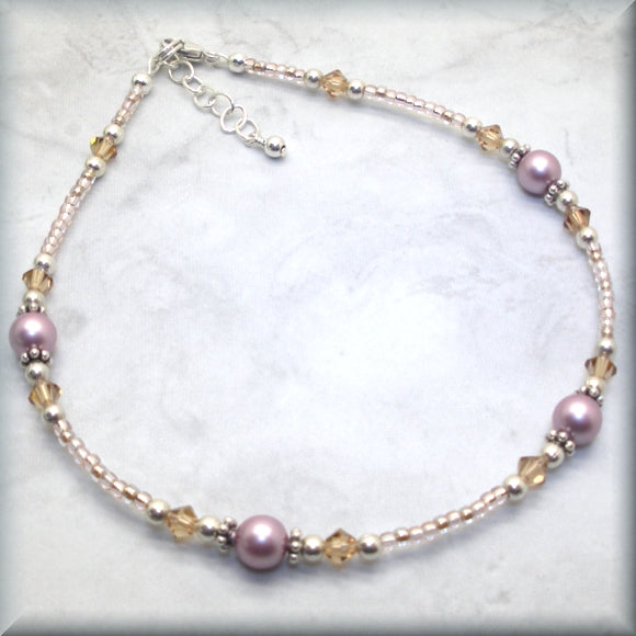 pearl and crystal adjustable anklet