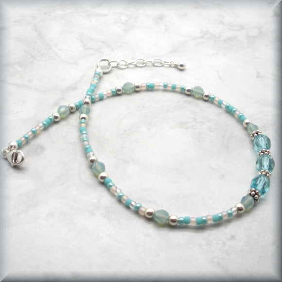 adjustable sterling silver anklet in cool aqua tones