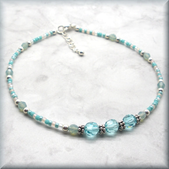 adjustable crystal anklet with sterling silver accents
