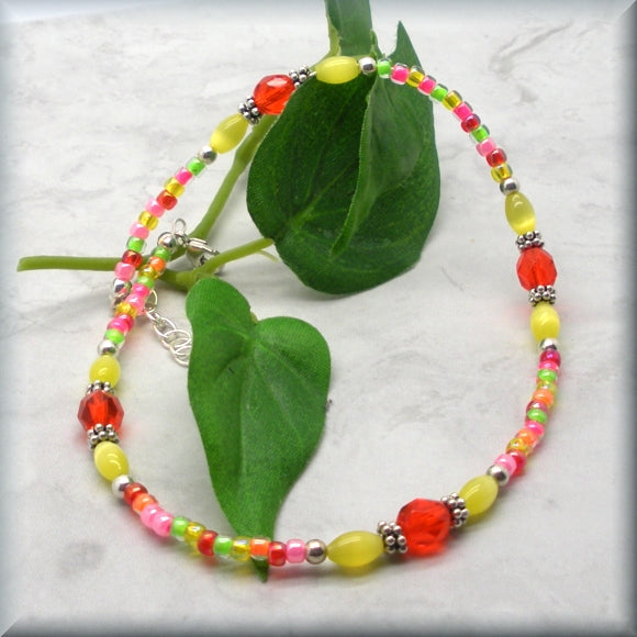 Tropical Summer Colorful Anklet - Adjustable - Fits 10