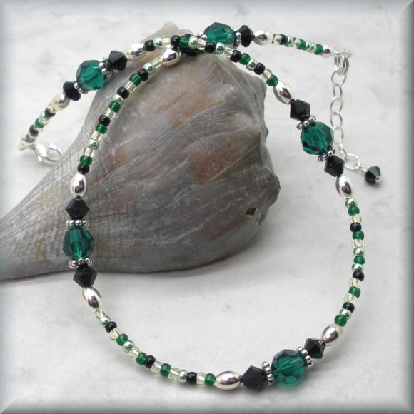 Beaded Anklet in Emerald Green and Jet Black Crystals - Fits 10