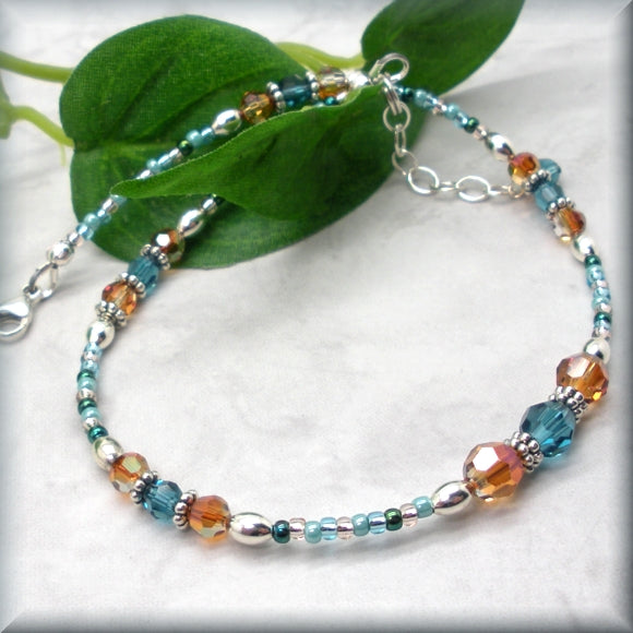beaded crystal anklet in southwestern colors