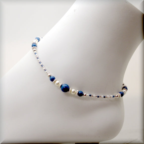 Lapis blue pearl anklet with sterling silver accents